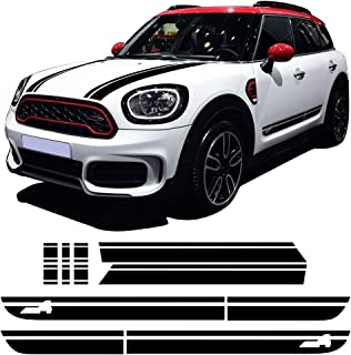 Charminghorse Hood Bonnet Side Stripe Graphics Sticker Trunk Rear Decal Stickers Kit para Mini Cooper S Countryman F60 2017- Presente (Negro brillante)