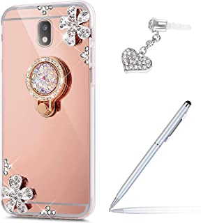 ikasus Galaxy J7 Pro Case,Galaxy J7 Pro Mirror Case, Inlaid Diamond Flowers Rhinestone Diamond Glitter Bling Mirror TPU Case & Ring Stand +Touch Pen Dust Plug for Galaxy J730 J7 Pro (2017),Rose Gold