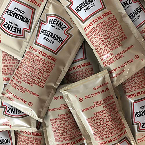 Heinz Horseradish Sauce Condiment Packets | 50 Count Individual Prepared Horseradish Packets