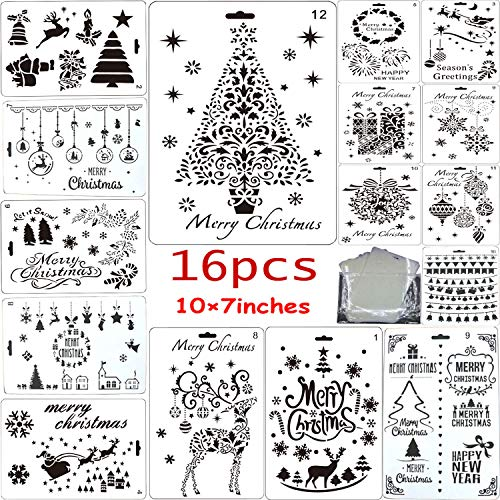 Fartime 16Pcs Christmas Stencils with Merry Christmas,Santa Claus,Christmas Tree,Snowflakes,Bulbs,Reindeers for DIY Drawing Painting Craft Projects(10'×7')