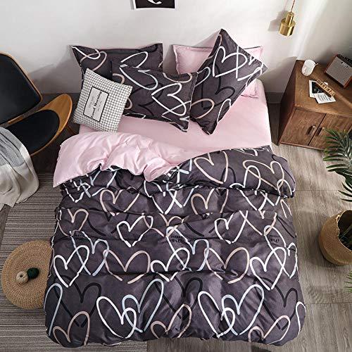 Meesovs® Sängklädesset enkel tecknad kärlek 3D-tryckt påslakan 2 örngott 50 x 75 cm täcke sängkläder set med dragkedja 100 % mikrofiber singelsäng 135 x 200 cm jul barn påslakan