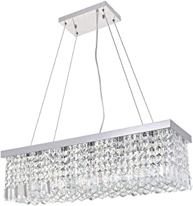 """Luxury Crystal Chandelier, JJGD Modern Raindrop Rectangle Clear K9 Crystal Ceiling Lights Flush Mount Pendant Lamp for Dining/Living Room Bedroom Stairway Hotel, E12X5 Bulbs Required L31.5"""" W10"""" H8.8"""""""