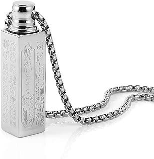 HZMAN Stainless Steel Buddhist Om Mani Padme Hum Prayer Wheel Mantra Bottle Keepsake Urn Necklace Memorial Jewelry