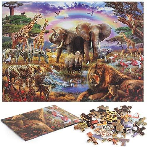 Puzzle de 1000 Piezas para Adultos, Mundo Animal, Ilustraciones de Juegos de Rompecabezas para Adultos, Adolescentes, Rompecabezas de Piso de Impresión de Alta Definición (70 x 50 cm (Mundo Animal 1)