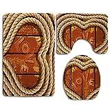 Figura de corazón con cuerda enrollada sobre tablones de madera Inscripción de amor Tema romántico Baño Conjuntos de...