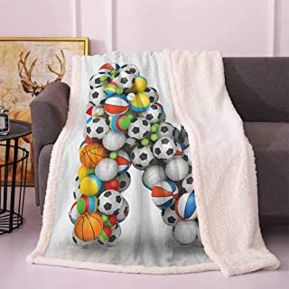 Letter N Lightweight Blanket Sports Equipment Football Volleyball Tennis Ball Capital N Symbol Alphabet Design Soft Blankets Multicolor 60