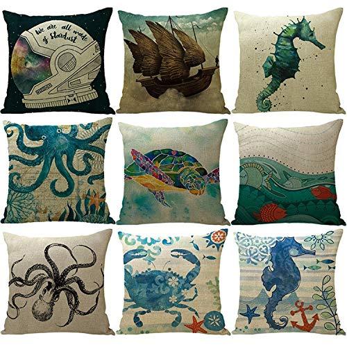 ZMYY Fundas de cojín con diseño de sirena del océano, bonito y colorido, ideal para decoración del hogar, paquete de 9, 45 x 45 cm