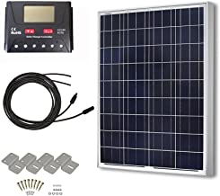 HQST 100 Watt 12 Volt Polycrystalline Solar Panel Kit with 30A PWM LCD Common Postive Solar Charge Controller, 20Ft 12AWG Solar Cable, Z-Brackets