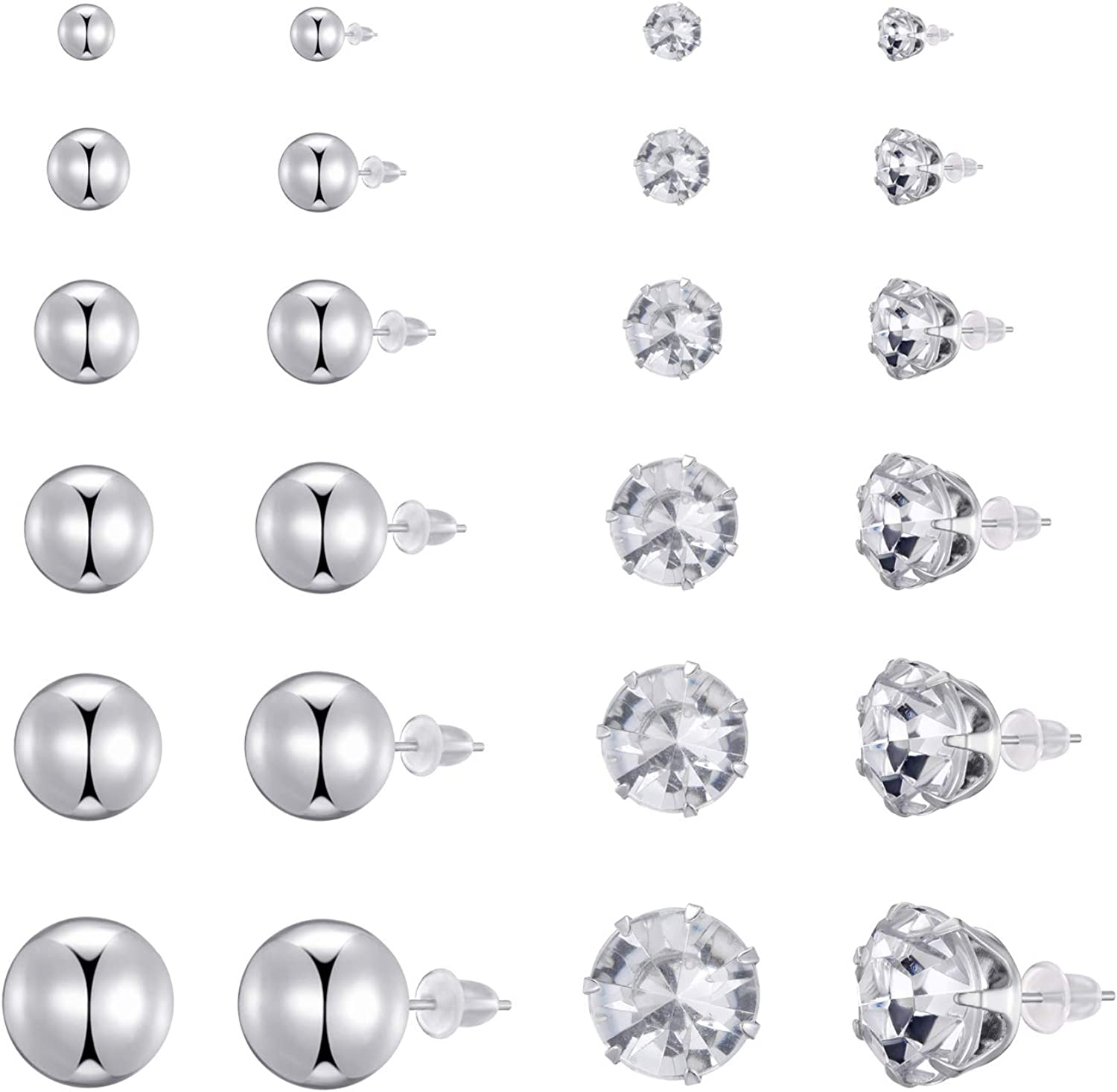 Yanxyad Jewelry Women's Stainless Steel Round Clear Cubic Zirconia Stud Earring (12Pairs)