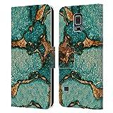 Head Case Designs Licenciado Oficialmente Monika Strigel Verde Azulado Piedras Preciosas Y Oro Carcasa de Cuero Tipo Libro Compatible con Samsung Galaxy S5 / S5 Neo