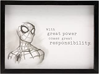 Open Road Brands Marvel Black and White Vintage Spiderman Motivational Drawing MDF Deep Black Wood Framed Wall Art - Officially Licensed Product -