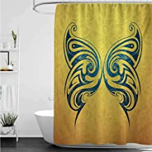 Shower Curtains Hangers Tattoo,Blue Colored Tribal Designed Free Butterfly Symbol of and Freedom Artwork Print,Blue and Yellow W72 x L72,Shower Curtain for Women