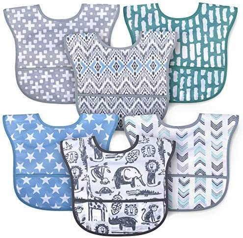 6 Pack Adjustable Waterproof Baby Bibs with Food Catcher Pocket Pocket Bibs with Snaps for Babies product image