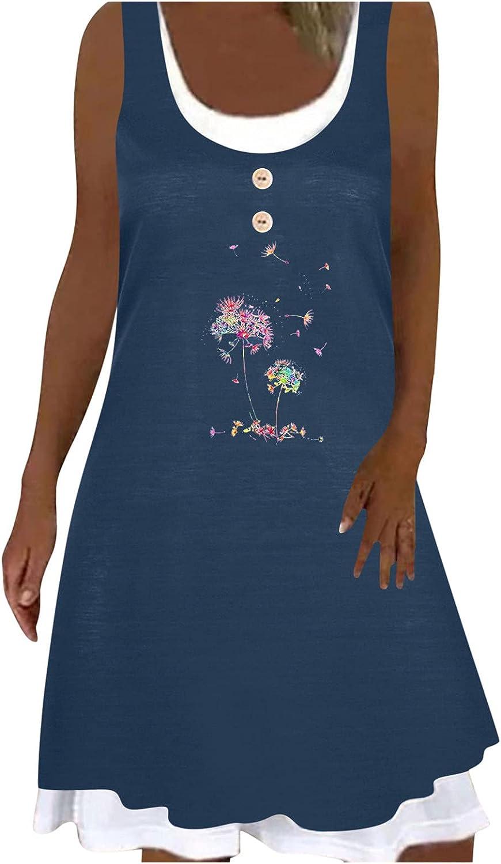 iQKA Women Shirt Dress Sunflower Print O Neck Sleeveless Summer Casual Dress Flowy Shift Dresses Loose Mini Dress Vestidos