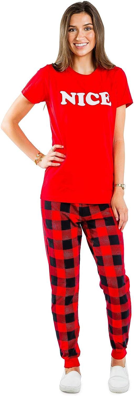 Tipsy Elves Naughty and Nice Matching Couple Christmas Pajamas Comfy Holiday Pjs for Couples