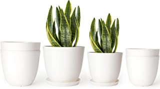 Mkono 5.5 and 6.5 Inch Plastic Planters Indoor Set of 6 Flower Plant Pots Modern Decorative Gardening Pot with Drainage and Tray for All House Plants, Flowers, Herbs, and Seeding Nursery, Cream White
