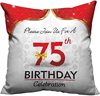 YouXianHome Decorative Throw Pillow Case Royal Display Birthday Party Floral Invitation Ceremony Bow Gold Red White Ideal Decoration(Double-Sided Printing) 17.5x17.5 inch