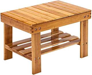 Ryokozashi Bamboo Step Stool, 10 inch High Multi-Functional Wooden Stool Seat Kids Foot Stool Ideal for Bathroom,Living Room,Bedroom,Laundry Room or Garden (16.1 x 11 x 10.2 inch Wood)