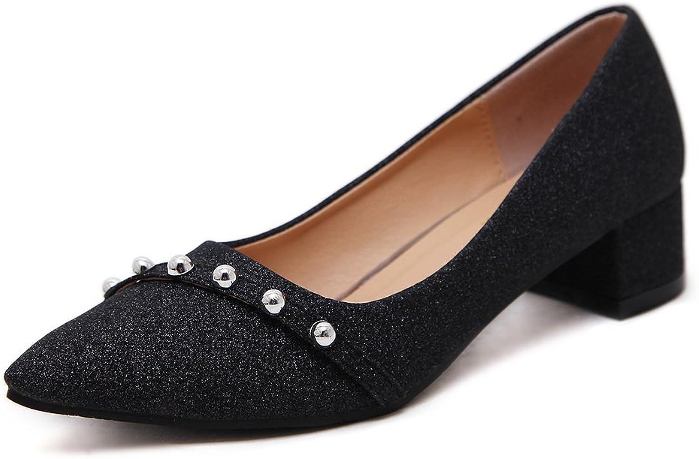 AdeeSu Womens Rhinestones Chunky Heels Low-Cut Uppers Urethane Pumps shoes