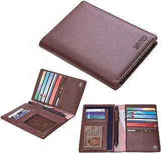 Leather Passport Holder RFID Blocking Travel Wallet Doucment Organizer Bag, 2 Passport Cover, Brown (Brown) - BG0001BRN