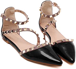 Women Patent Leather Rivets Flats Shoes Sexy Pointed Toe Pump
