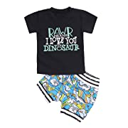 Toddler Baby Boy Clothes Summer Short Sleeve T-Shirt + Dinosaur Pant 2Pcs Outfits Set