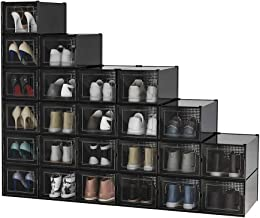 Pellebant 24 Pack Stackable Shoe Storage Boxes, Foldable Plastic Shoe Organizer for Closets, Entryway Shoe Rack, Clothing ...