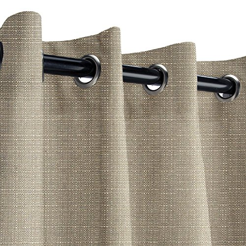 Sunbrella Linen Taupe Outdoor Curtain with Nickel Grommets 50 in. Wide x 96 in. Long