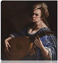 Berkin Arts Artemisia Gentileschi Stretched Giclee Print On Canvas-Famous Paintings Fine Art Poster Reproduction Wall Decor-Ready to Hang(Self Portrait as a Lute Player)#NK