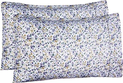 Amazon Basics Lightweight Super Soft Easy Care Microfiber Pillowcases - 2-Pack, Standard, Blue Floral