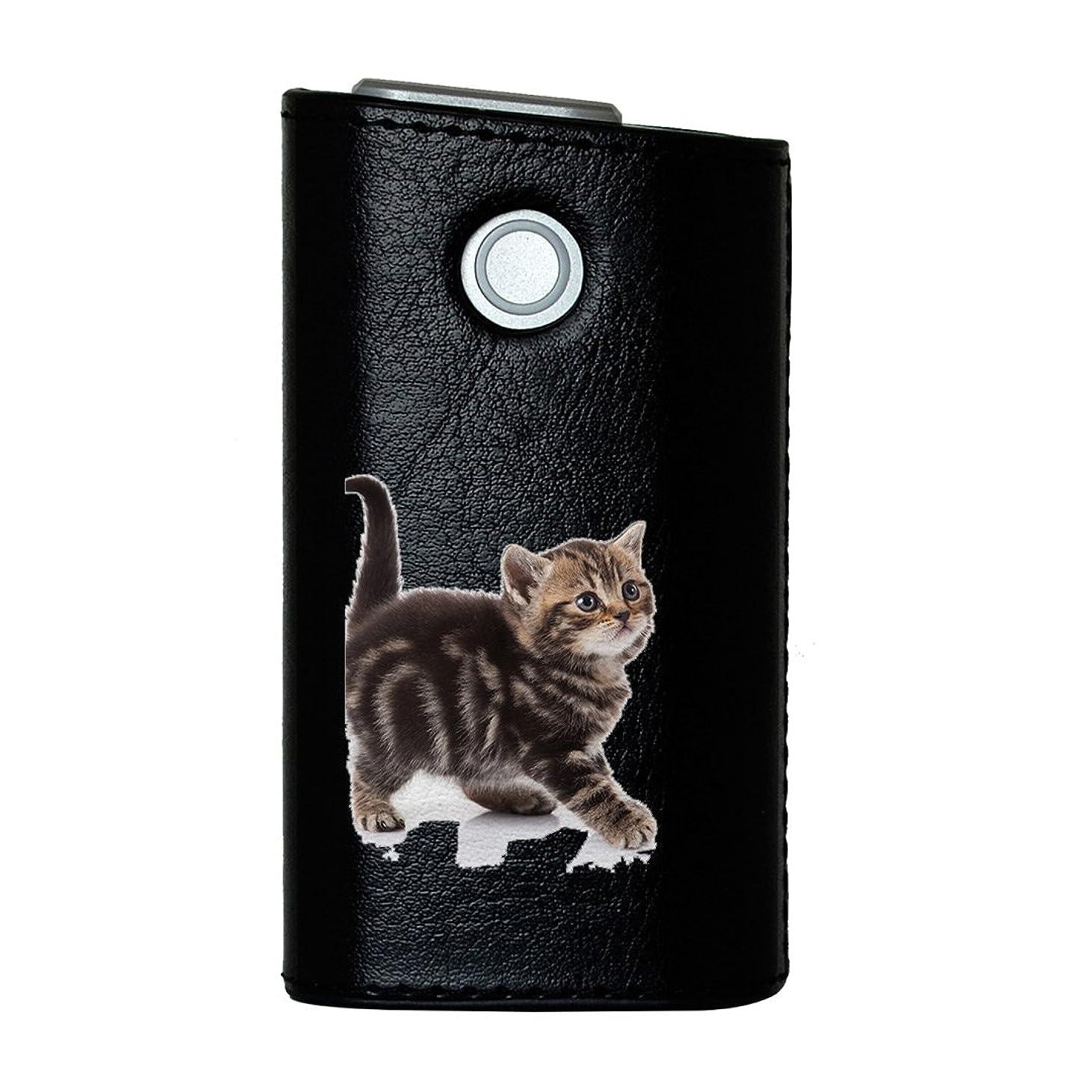 十分に麻痺改善glo グロー グロウ 専用 レザーケース レザーカバー タバコ ケース カバー 合皮 ハードケース カバー 収納 デザイン 革 皮 BLACK ブラック アニマル 写真?風景 写真 動物 猫 ねこ 005930
