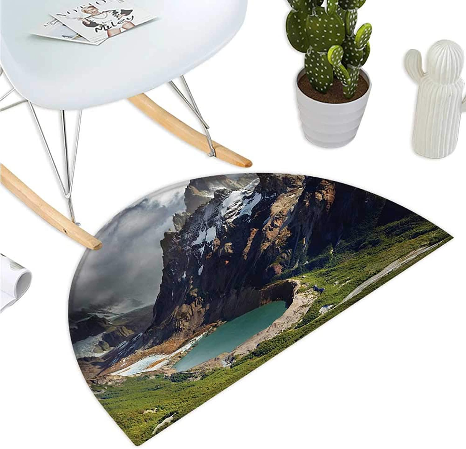 Landscape Semicircular Cushion Mount Fitz Roy and Laguna Torre Los Glaciares National Park Patagonia silverina Entry Door Mat H 43.3  xD 64.9  Multicolor