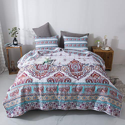 DaDa Bedding Bohemian Paisley Bedspread - Cozy Coconut White Sky Beach Vibes Floral - Bright Vibrant Multi-Colorful Quilted Coverlet Set - Turquoise Blue Red Purple Orange - Cal King Size - 3-Pieces