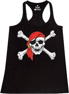 Shop4Ever Pirate Skull & Crossbones Women's Racerback Pirate Flag Tank Tops Slim FIT