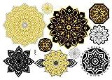 Tatuajes metálicos de mandala, tatuajes de pulsera, tatuajes dorados, joyas, tatuajes VT400