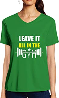 Pooplu Womens Leave It All in The Gym Cotton Printed V Neck Half Sleeves Multicolour t-Shirt. Gym, Exercise, Fitness Tshirts