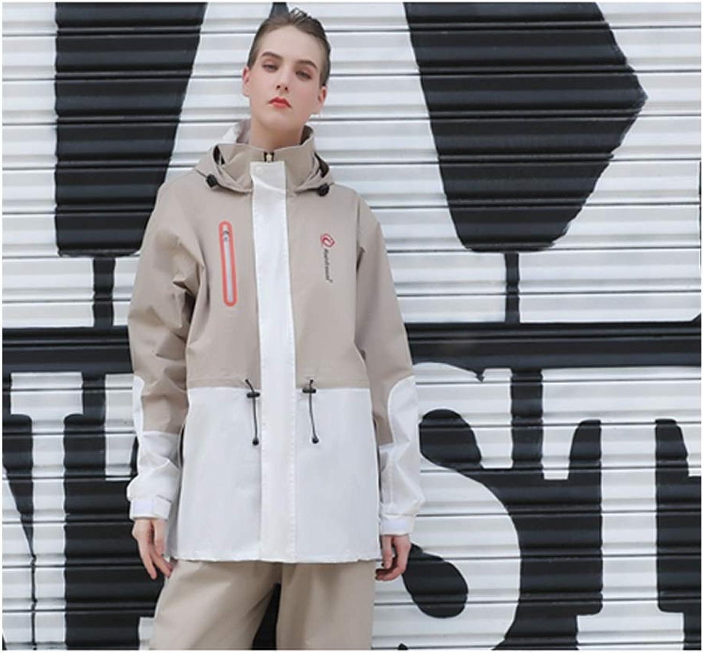 GAIXIA Waterproof Raincoat Thick Split Split Ladies Raincoat Rain Pants Suit MultiFunction Light Raincoat with Hat Waterproof Rain Poncho (color   Apricot, Size   XXXL)