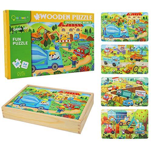 Puzzles de Madera Juguetes Educativos, Juguete de Madera Puzzle para Niños Puzzles Infantiles, Rompecabezas de Madera Set Paquete de 4 Regalos de Cumpleaños para niños (Ingenieria)