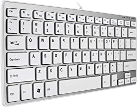 BFRIENDit Wired USB Mini Keyboard, Ultra-Slim Small Quiet Wired Computer Keyboard, Compactable Thin Portable Keyboard for PC, Desktop, Notebook, Laptop, Windows - Silver