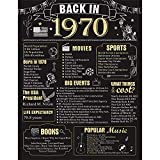 51 Years Ago Birthday or Wedding Anniversary Poster 11 x 14 Party Decorations Supplies Large 51st Party Sign Home Decor for Men and Women ( Back in 1970 - 51 Years)