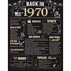 【50th Party Decoration】: Take a look back in 1970,This 50 Years Ago poster makes a great conversation starter! Featuring historical facts from 1970, attract more families or guests to join in the fun with you, great gift or decoration for 50th birthd...