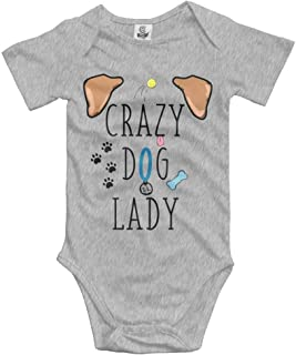 Unisex Baby's Crazy Dog Lady Bodysuits Romper Short Sleeved Onesies