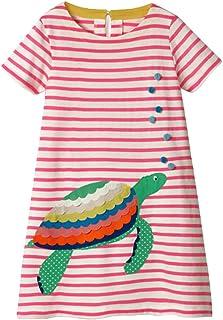 Joick Kids Short Sleeve Dress Girl Round Neck Star Sequin Glitter Cartoon Animal Knee Length Loose Dress