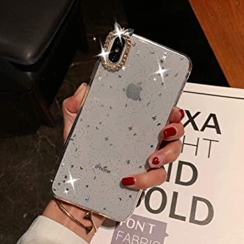 Opretty iPhone XR Case, Clear Bling Glitter Shockproof Anti-Fingerprint Sparkle Crystal Star Pattern Slim Soft TPU Protective Phone Cover Bumper Case for iPhone XR 6.1 Inch -White