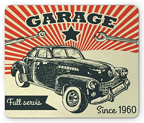 Tapis de souris pour voitures, voiture rétro et publicité publicitaire Style affiche photo avec effets grunge des années 1960, tapis de souris en caoutchouc antidérapant rectangulaire, taille standard