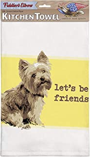 Fiddler's Elbow Let's Be Friends Yorkie Kitchen Towel, 100% Cotton Dog Themed Towel, Eco-Friendly Dish Towel with Hanging Loop, Yorkie Lover Gift