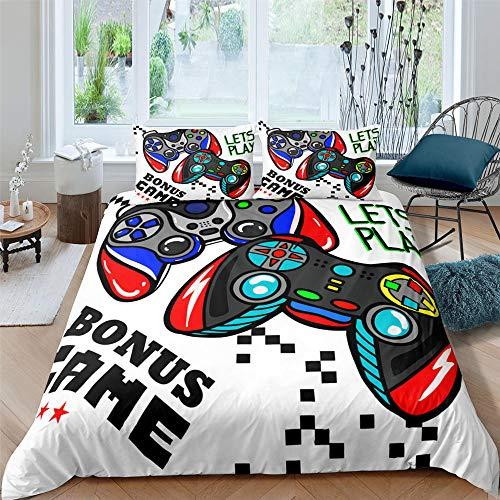 Funda Nordica Cama 90 150x220 cm Mando de Juegos Multicolor Ropa de Cama de Microfibra Antialérgico y 2 Fundas de Almohada 50x75 cm