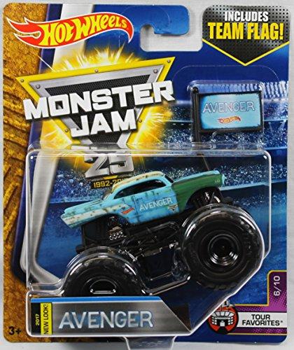 2017 Hot Wheels Monster Jam 1:64 Scale Truck with Team Flag - New Look Avenger