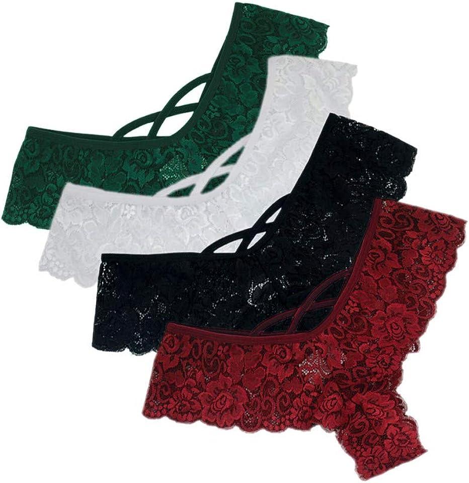 4 Pcs Plus Size Sexy Lace Underwear Panties Lace Stretch Bikini Underwear Lace Thong S-5XL