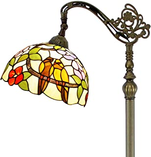 Tiffany Style Reading Floor Lamp Stained Glass with Tropical Birds Lampshade 64 Inch Tall Antique Arched Base for Bedroom Living Room Lighting Table Set Gifts S803 WERFACTORY